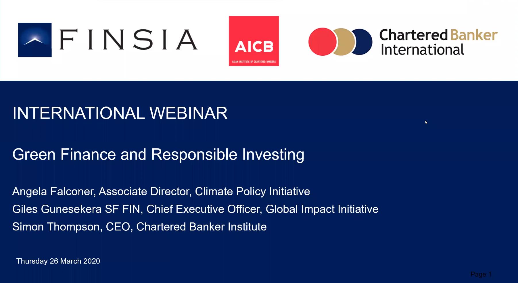 International Webinar: Green Finance and Responsible Investing